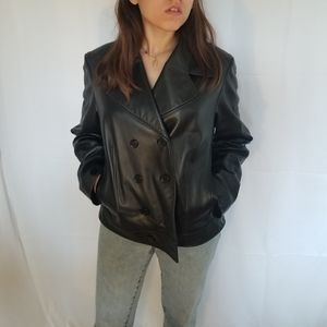 Vintage Leather Double Breasted Jacket